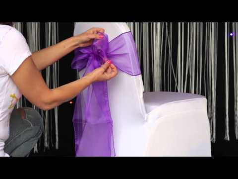 Various ways to tie an organza sash to a chair cover - Chair Cover Depot