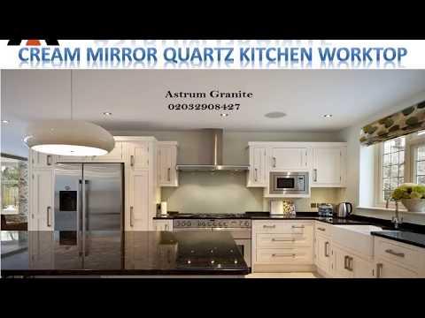Best Cream Mirror Quartz Kitchen Worktop in London - Astrum Granite