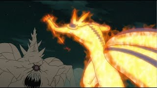 Ten tails cut off all the tails of Kurama and the Eight-Tails, Neji's death, Kurama vs Ten Tails