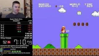 (19:04.38) Super Mario Bros. Warpless speedrun *Former World Record*
