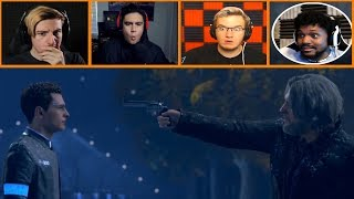 Let's Players Reaction To Hank Pulling A Gun On Connor |  Detroit: Become Human