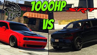 GTA 5 - 1000HP HELLCAT VS 1000HP DURANGO SRT | DRAG RACE WHICH IS FASTER?