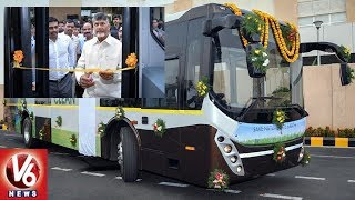 CM Chandrababu Launches Electric Buses In Amaravati..