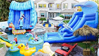 We BUILT A GIANT WATERPARK In Our BACKYARD **Crazy Fun**
