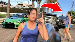ANGRY LADY VANDALIZES MY GTR RIGHT IN FRONT OF ME! *LIVE FOOTAGE*