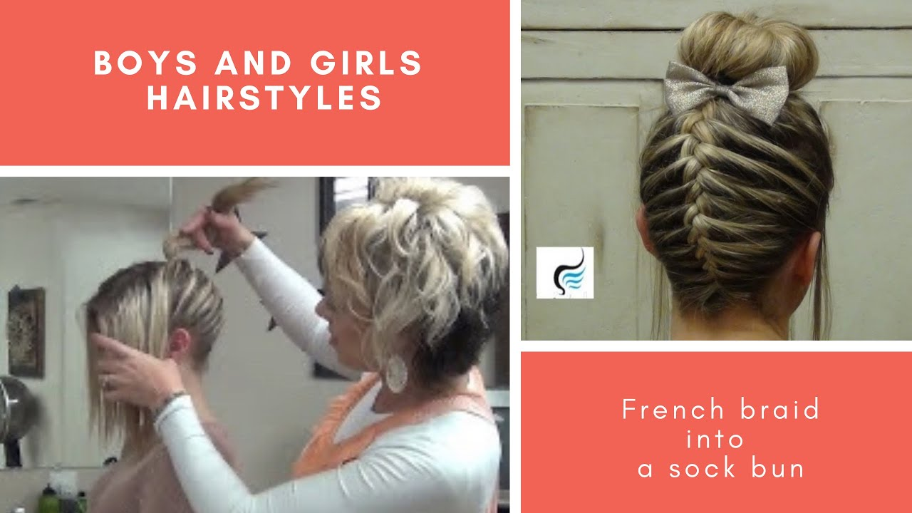French Braid Sock Bun Girls Hairstyle Youtube