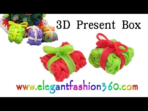 Rainbow Loom Present/Gift Box 3D Charms - How to Loom Bands Tutorial Christmas/Holiday/Ornaments