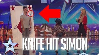 SIMON COWELL HIT BY KNIFE | Britain's Got Talent