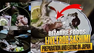 Live Frog Sashimi Preparation and Eating in Japan