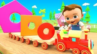 Wooden Toy Train Shapes Toy Set  | Learn Colors & Shapes for Children Little Baby Fun Play 3D Kids - YouTube