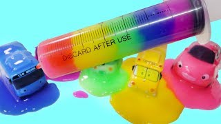 Learn color with rainbow slime for children / baby song wheel on the bus / kids car songs videos