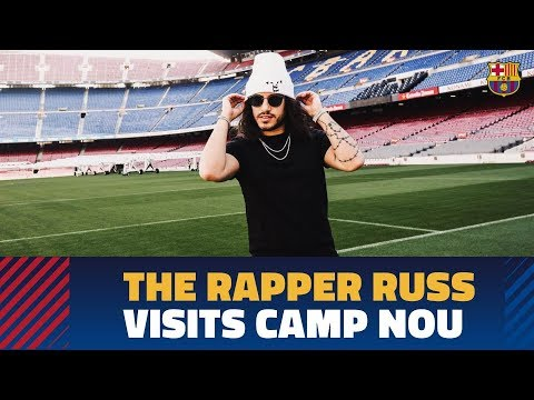The rapper Russ visits the Camp Nou Experience