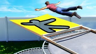 Jumping through Secret Shapes off our ROOF!! (Trampoline Park Challenge)
