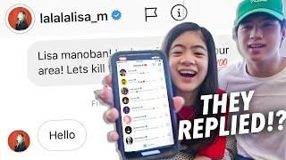 WE SENT A DM TO 100 CELEBRITIES ON INSTAGRAM (Lisa Replied!!) | Ranz and Niana