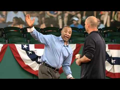 Hall of Fame Shortstop Ozzie Smith demonstrates defensive tactics ...