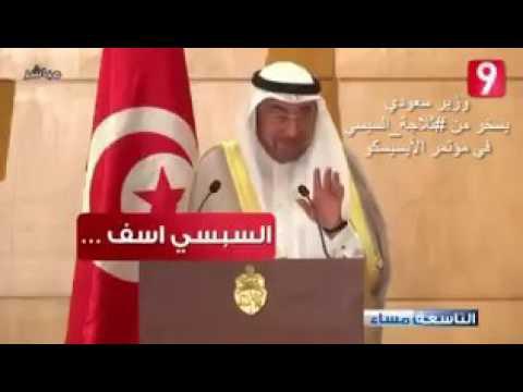 شاهد|| وزير الثقافة والاعلام السعودي يسخر من السيسي فى مؤتمر عالمى بسبب الثلاجة