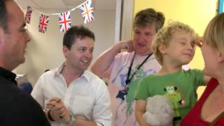 Ben tells Ant and Dec a joke at Great Ormond St