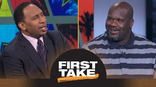 Shaq riles Stephen A. up by saying LeBron James should join Warriors | First Take | ESPN