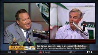 [ANXIOUS] Eric Mangini live to tell Colin why Brady will never be Belichick | THE HERD 8/16