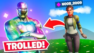 TROLLING noobs with HOLOFOIL IRONMAN In Fortnite!