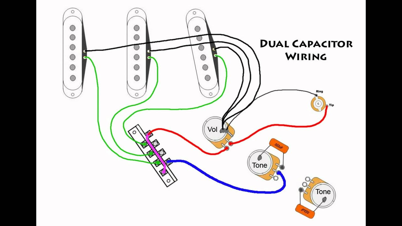 stratocaster mod wiring - dual capacitors - youtube fender stratocaster tremolo wiring diagram fender stratocaster hss wiring diagram color