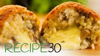 Simple Arancini Balls made with mushroom risotto