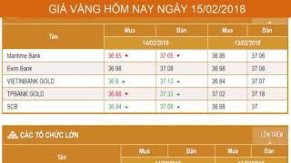 GIÁ VÀNG HÔM NAY NGÀY 15/02/2018 - Vàng SJC  - PNJ - DOJI - Vàng GOLD - vàng thế giới -vàng 9999