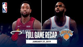 Full Game Recap: Heat vs Knicks | Dwyane Wade Records Double-Double In MSG