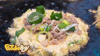 Okonomi Mung Bean Pancake / Korean Street Food / Aretjang Night Market, Suncheon Korea