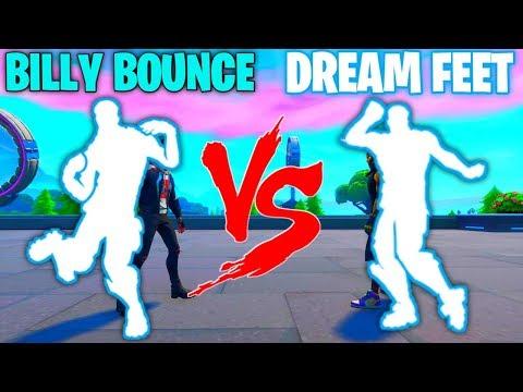 FORTNITE *NEW* BILLY BOUNCE EMOTE VS DREAM FEET EMOTE!!!