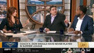 The Jump 7/15/2019 | Rachel Nichols EXCITED Coach K: Zion should have never played in summer league
