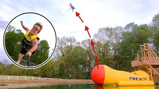 We Made Him FLY!!! ( Worst landing ever )