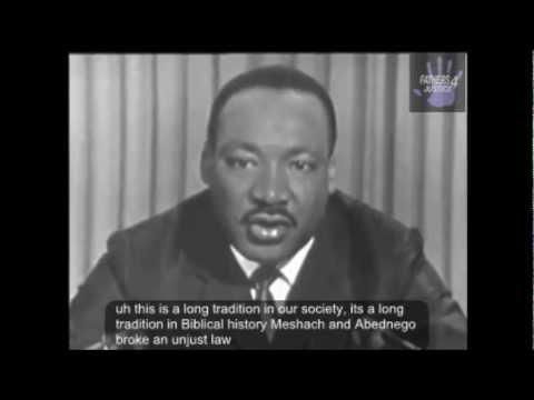 Martin Luther King Jr. Speech Civil Disobedience and obeying Just vs. Unjust laws (Closed Captioned)