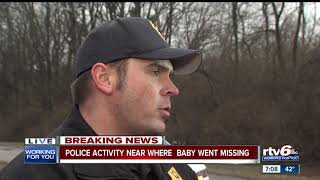 Police activity near where baby went missing
