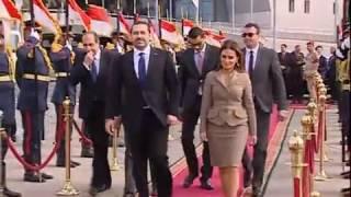 مراسم مغادرة رئيس الوزراء اللبناني سعد الحريري من مطار القاهرة الدولي ...