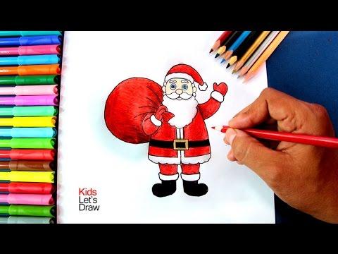 Cómo dibujar a Papá Noel con su Bolsa de Regalos | How to draw Santa Claus and his Gifts Bag