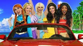 MOANA'S DISNEY PRINCESS CARPOOL RIDE. What Happens to Rapunzel, Belle, Elsa and Anna?