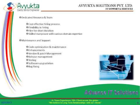 Avyukta Solutions  Overview Dedicated resource Provider   Offshore development Center