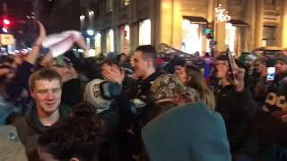 EAGLES NFC CHAMPS! CRAZY FAN GIRL CLIMBS LIGHT POLE!!!