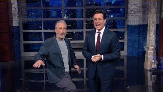 Jon Stewart Crashes Stephen's Monologue