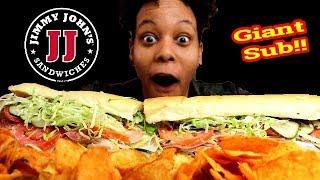 """JIMMY JOHNS GIANT 16"""" ITALIAN SUB SANDWICH MUKBANG!!"""