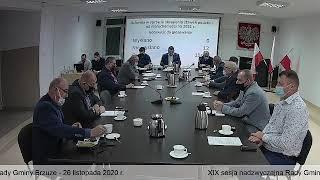 XIX sesja nadzwyczajna Rady Gminy Brzuze - 26 listopada 2020