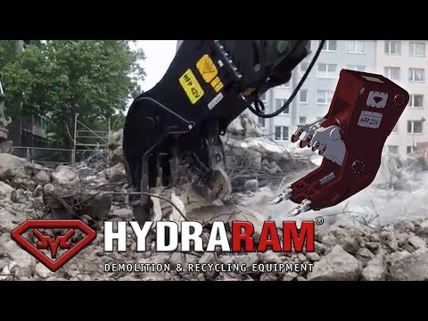 Hydraram HFP-42V Pulverizer mounted on a Caterpillar 349E Excavator