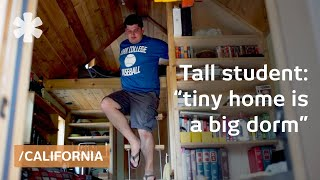 Tall law student, tiny house: bachelor builds dorm on wheels