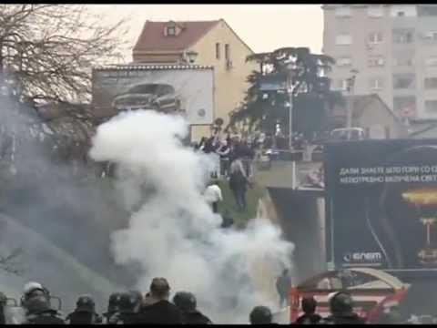 Protesta dhe incidentet ne Shkup 02.03.2013