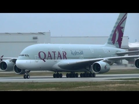 Rejected Take-Off Of First Qatar Airways A380 A7-APA At Hamburg Finkenwerder - Smashpipe science