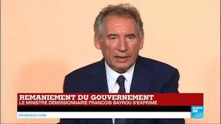 REPLAY - Démission de François Bayrou : Allocution de l'ancien ministre de la Justice