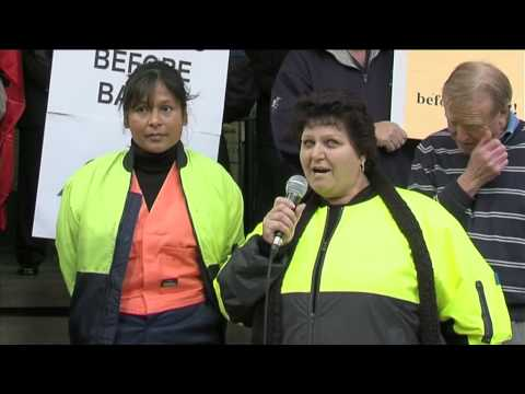 Nylex Workers protest the ANZ Bank