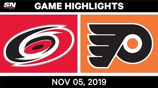 NHL Highlights | Hurricanes vs. Flyers – Nov. 5, 2019