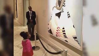 Girl awestruck by Michelle Obama portrait meets the former first lady